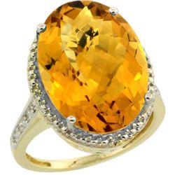 Natural 13.6 ctw Whisky-quartz & Diamond Engagement Ring 10K Yellow Gold - REF-52G3M