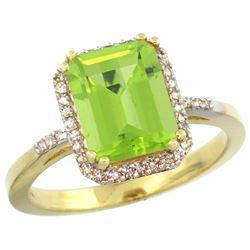 Natural 2.63 ctw Peridot & Diamond Engagement Ring 14K Yellow Gold - REF-42H9W