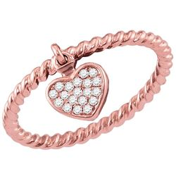 0.11 CTW Diamond Heart Dangle Rope Stackable Ring 10KT Rose Gold - REF-18K2W