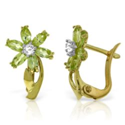 Genuine 1.10 ctw Peridot & Diamond Earrings Jewelry 14KT Yellow Gold - REF-36F3Z