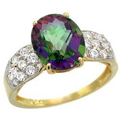 Natural 2.75 ctw mystic-topaz & Diamond Engagement Ring 14K Yellow Gold - REF-58G4M