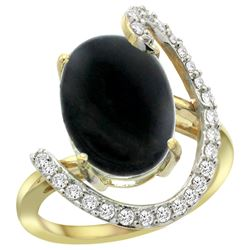 Natural 3.63 ctw Onyx & Diamond Engagement Ring 14K Yellow Gold - REF-85Z2Y