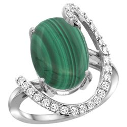 Natural 7.41 ctw Malachite & Diamond Engagement Ring 14K White Gold - REF-85G6M