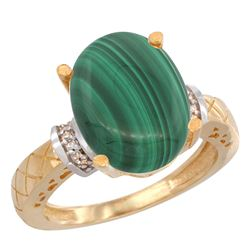 Natural 5.53 ctw Malachite & Diamond Engagement Ring 10K Yellow Gold - REF-38N8G
