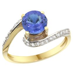 Natural 1.08 ctw tanzanite & Diamond Engagement Ring 10K Yellow Gold - REF-50H3W