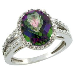 Natural 3.47 ctw Mystic-topaz & Diamond Engagement Ring 14K White Gold - REF-46N3G