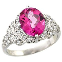 Natural 2.92 ctw pink-topaz & Diamond Engagement Ring 14K White Gold - REF-102M7H