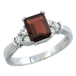 Natural 1.48 ctw garnet & Diamond Engagement Ring 14K White Gold - REF-52F3N