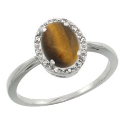 Natural 1.08 ctw Tiger-eye & Diamond Engagement Ring 10K White Gold - REF-19R3Z