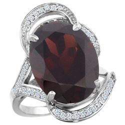 Natural 11.23 ctw garnet & Diamond Engagement Ring 14K White Gold - REF-118K9R