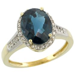 Natural 2.49 ctw London-blue-topaz & Diamond Engagement Ring 14K Yellow Gold - REF-42Y8X