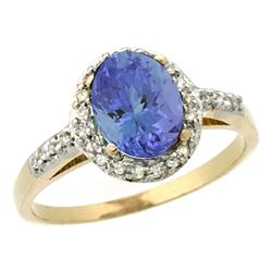 Natural 1.43 ctw Tanzanite & Diamond Engagement Ring 14K Yellow Gold - REF-54Z7Y