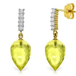 Genuine 18.15 ctw Lemon Quartz & Diamond Earrings Jewelry 14KT Yellow Gold - REF-41W2Y