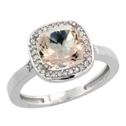Natural 2.11 ctw Morganite & Diamond Engagement Ring 10K White Gold - REF-46A2V