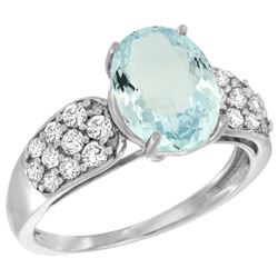Natural 2.45 ctw aquamarine & Diamond Engagement Ring 14K White Gold - REF-68A4V