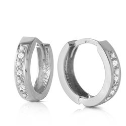 Genuine 0.04 ctw Diamond Anniversary Earrings Jewelry 14KT White Gold - REF-45P8H