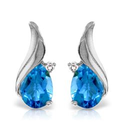 Genuine 5.06 ctw Blue Topaz & Diamond Earrings Jewelry 14KT White Gold - REF-54N2R