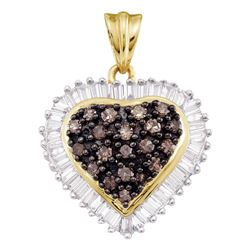 1 CTW Cognac-brown Color Diamond Heart Cluster Pendant 10KT Yellow Gold - REF-40M4H