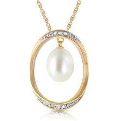 Genuine 4.1 ctw Pearl & Diamond Necklace Jewelry 14KT Yellow Gold - REF-99Z3N