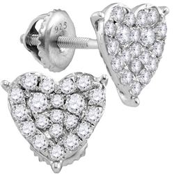 0.47 CTW Diamond Heart Stud Earrings 10KT White Gold - REF-34K4W