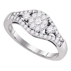 0.60 CTW Diamond Flower Cluster Ring 10KT White Gold - REF-57K2W