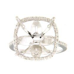 0.29 CTW Diamond Semi Mount Ring 14K White Gold - REF-49F2N