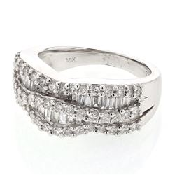 1.2 CTW Diamond Ring 18K White Gold - REF-146M2F