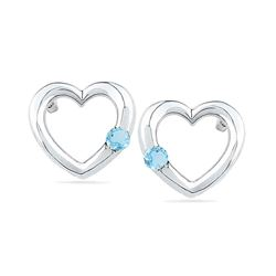 0.12 CTW Created Blue Topaz Heart Love Earrings 10KT White Gold - REF-12M8H