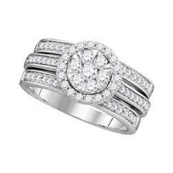 1 CTW Diamond Cluster Bridal Engagement Ring 14KT White Gold - REF-134W9K