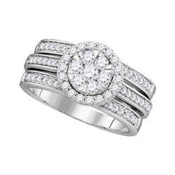 1 CTW Diamond Cluster Bridal Engagement Ring 14KT White Gold - REF-134W9K