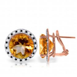 Genuine 12.4 ctw Citrine, White & Black Diamond Earrings Jewelry 14KT Rose Gold - REF-124Y2F