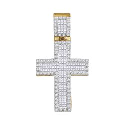 0.95 CTW Mens Princess Diamond Raised Edge Cross Charm Pendant 10KT Yellow Gold - REF-52X4Y