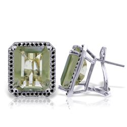 Genuine 11.60 ctw Green Amethyst & Black Diamond Earrings Jewelry 14KT White Gold - REF-127V9W