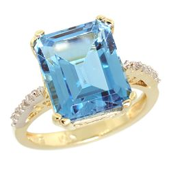 Natural 5.48 ctw Swiss-blue-topaz & Diamond Engagement Ring 10K Yellow Gold - REF-39M6H