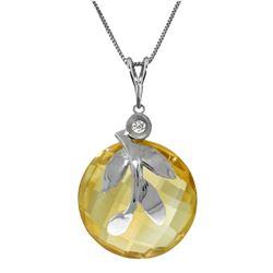 Genuine 5.32 ctw Citrine & Diamond Necklace Jewelry 14KT White Gold - REF-31P2H