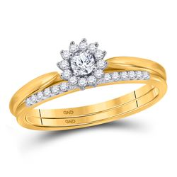 0.24 CTW Diamond Halo Bridal Engagement Ring 10KT Yellow Gold - REF-30N2F