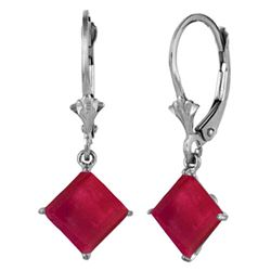 Genuine 2.9 ctw Ruby Earrings Jewelry 14KT White Gold - REF-42P2H