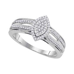 0.25 CTW Diamond Cluster Bridal Engagement Ring 10KT White Gold - REF-24F2N
