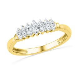 0.25 CTW Prong-set Diamond Double Row Ring 10KT Yellow Gold - REF-24H2M