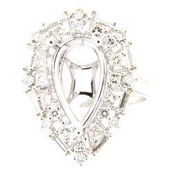 0.96 CTW Diamond Semi Mount Ring 14K White Gold - REF-110K2W
