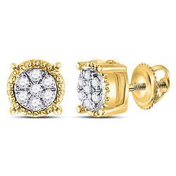 0.10 CTW Diamond Flower Cluster Milgrain Stud Earrings 10KT Yellow Gold - REF-10K5W