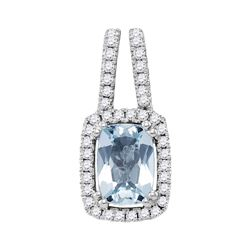 1 CTW Cushion Aquamarine Solitaire Diamond Pendant 14KT White Gold - REF-44Y9X