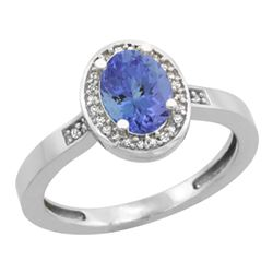 Natural 0.85 ctw Tanzanite & Diamond Engagement Ring 14K White Gold - REF-34G3M