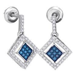 0.50 CTW Blue Color Diamond Diagonal Square Dangle Earrings 10KT White Gold - REF-30W2K