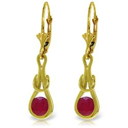 Genuine 1.30 ctw Ruby Earrings Jewelry 14KT Yellow Gold - REF-54H5X