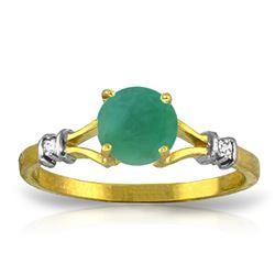 Genuine 0.62 ctw Emerald & Diamond Ring Jewelry 14KT Yellow Gold - REF-33H6X