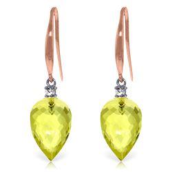 Genuine 18.1 ctw Lemon Quartz & Diamond Earrings Jewelry 14KT Rose Gold - REF-35T2A