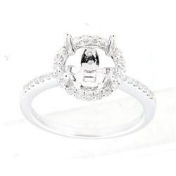 0.36 CTW Diamond Semi Mount Ring 14K White Gold - REF-40M7F