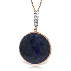 Genuine 23.08 ctw Sapphire & Diamond Necklace Jewelry 14KT Rose Gold - REF-51M4T
