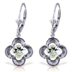 Genuine 1.10 ctw Aquamarine Earrings Jewelry 14KT White Gold - REF-40A8K